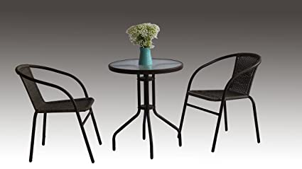 3PCE RATTAN BISTRO/CAFE SET/ONE TABLE+TWO CHAIRS/STACKABLE