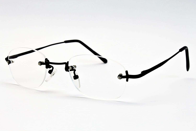 A188-vp Metal Rectangular Clear Lens Eyeglasses Sunglasses B1860F Black//black-clear