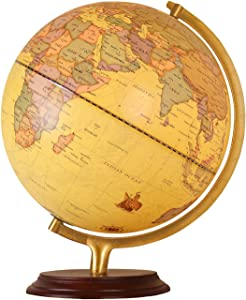 12 inch Antique World Globe, Wooden Desktop Geography Globe with Steel Stand, Earth Globe Educational Gift Toys Perfect Decoration for Office and Study, Over 4,000 Locations