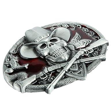9fdda65b6c62 MagiDeal Boucle de Ceinture Hip hop Cowboy Biker Mens Fantôme Tête  Halloween Squelette Gothique