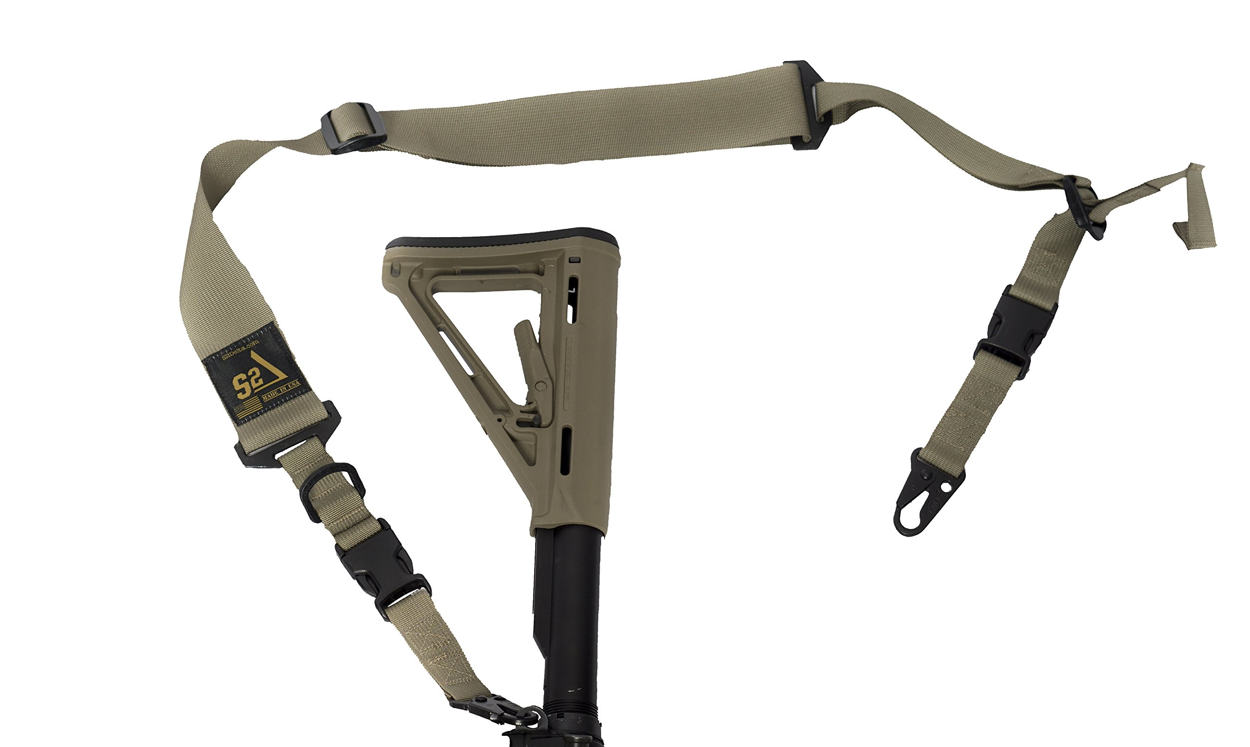 S2Delta - USA Made 2 Point Rifle Sling, Quick Adjustment, Modular Attachment Connections, Comfortable 2'' Wide Shoulder Strap to 1'' Attachment Ends (Tan with C.L.A.S.H. Hooks) (MRS2P-USA-TCH) by S2Delta