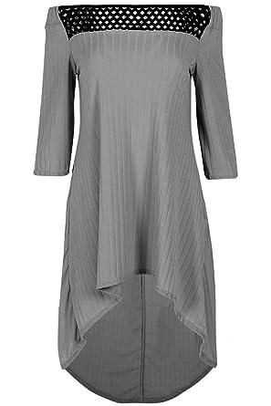 0bdca85946 Be Jealous Womens Ladies Ribbed Fishnet Off The Shoulder Bardot Long Sleeve  Hi Lo Dip Hem Midi Dress UK Plus Size 8-22  Amazon.co.uk  Clothing