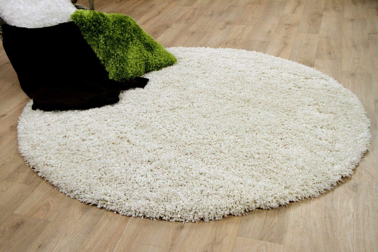 Unbekannt Hochflor Langflor Shaggy Teppich Luxury Wollweiss Rund - Sofort Lieferbar in 4 Größen