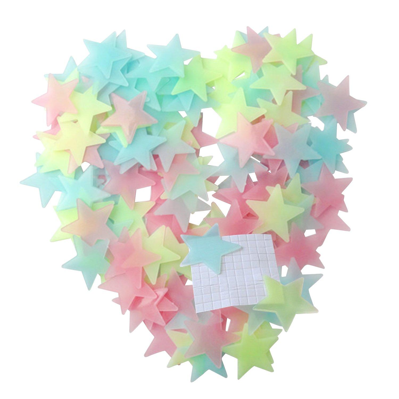 Pinzhi Luminous Stars Glow In The Dark Fluorescente Noctilucent PláStico Pegatinas De Pared Decalques Para La Pared Del Techo De Casa Decorar Baby Kids Gift Nursery Room