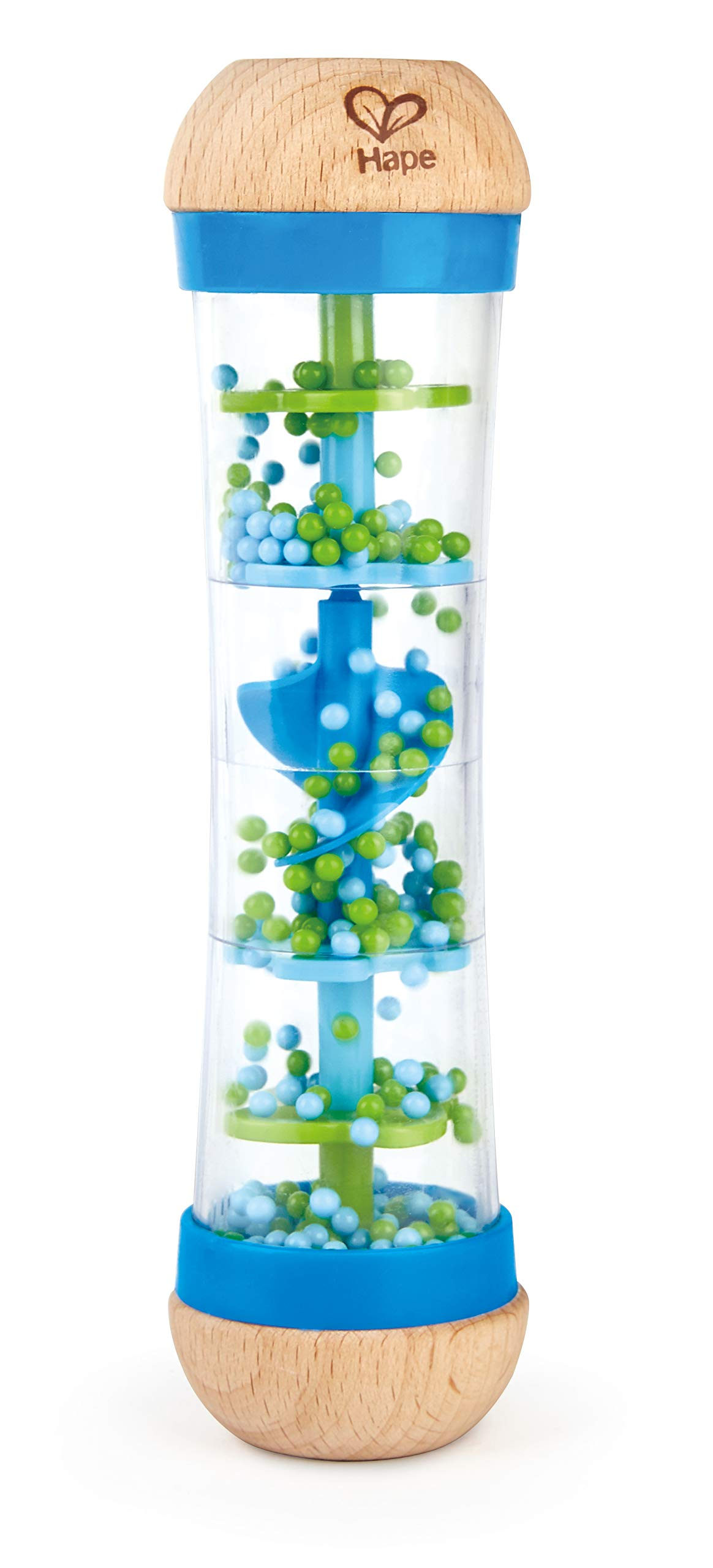Hape Beaded Raindrops | Mini Wooden Musical Shake & Rattle Rainmaker Toy, Blue
