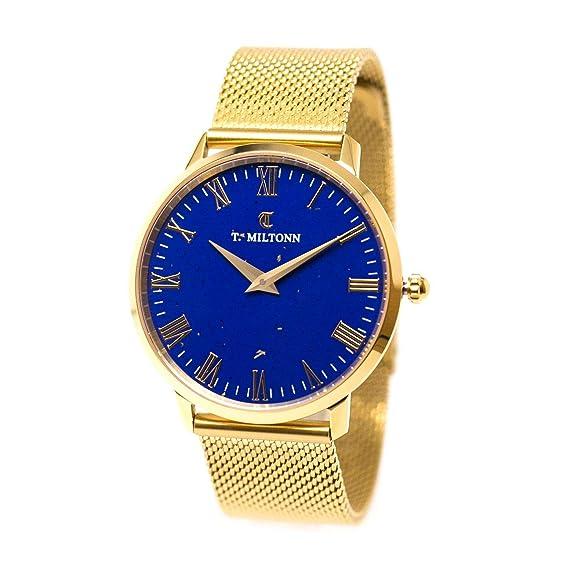 Reloj mujer extra-plate chapado oro amarillo reloj Lapis Lazuli pulsera malla Milanaise oro amarillo