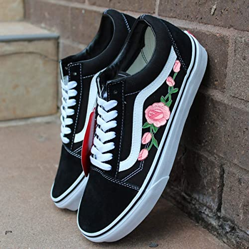 36327d35fe0 Amazon.com  Vans Red Old Skool Embroidered Pink Rose Custom Handmade Shoes  By Patch Collection  Handmade