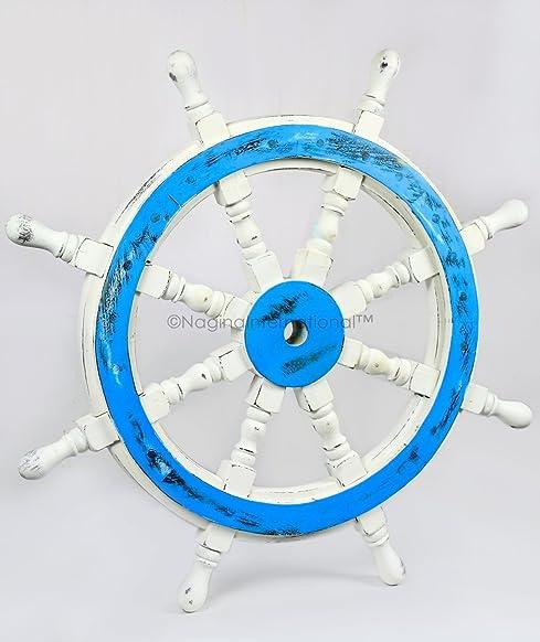 Nagina International Premium Decorative Hand Crafted Ocean Blue Antique White Nautical Ship Wheel
