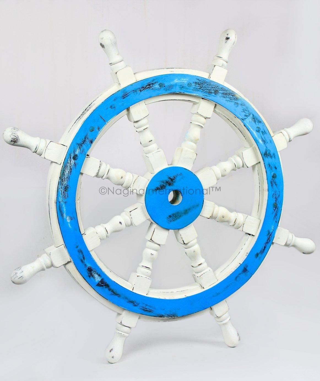 Premium Handcrafted Wall Sculpture & Decor Accent Nautical Antique Ocean Beach Decorative Ship Wheels | Maritime Wall Decor & Gifts | Nagina International (72 Inches, Ocean Blue)