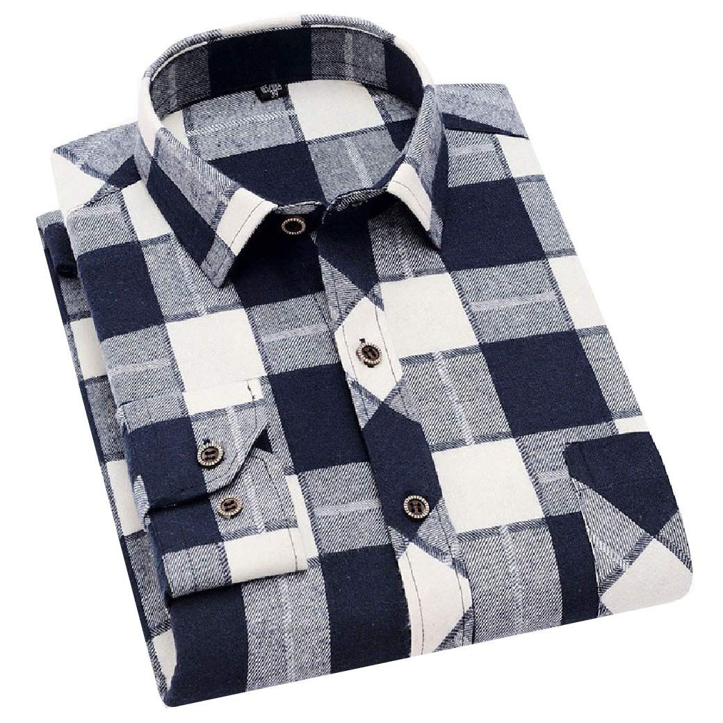 Mfasica Mens Slim Oversize Printing Plaid Long Sleeve Pockets Collar Shirt