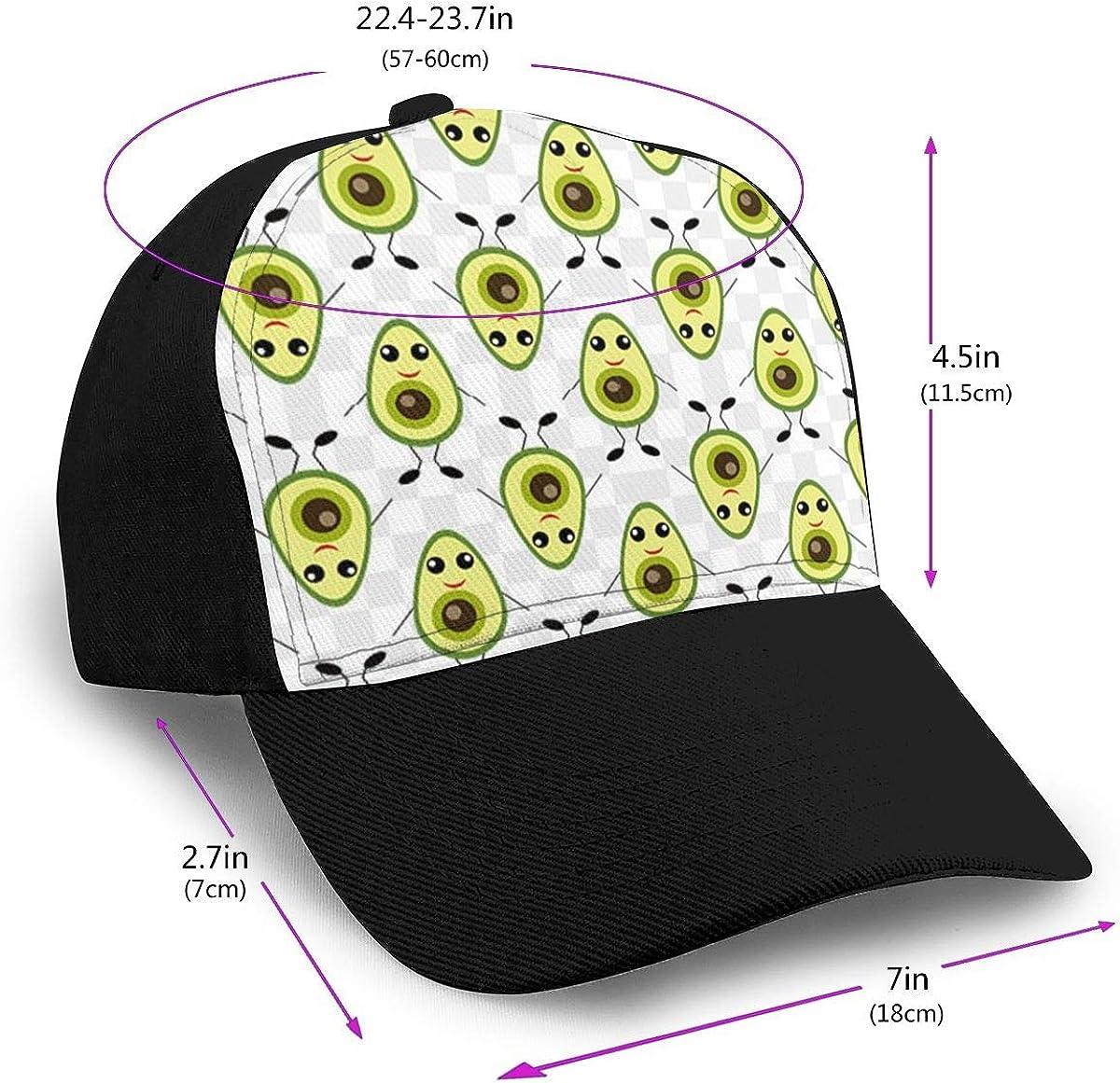 Classic Comfortable Cartoon Avocado Funny Adjustable Baseball Cap