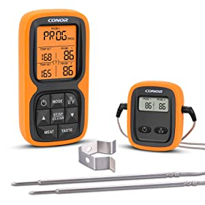 Wireless Remote Digital Meat Thermometer, Cooking Food Thermometer with Dual Probe for Smoker Gill BBQ Kitchen Oven