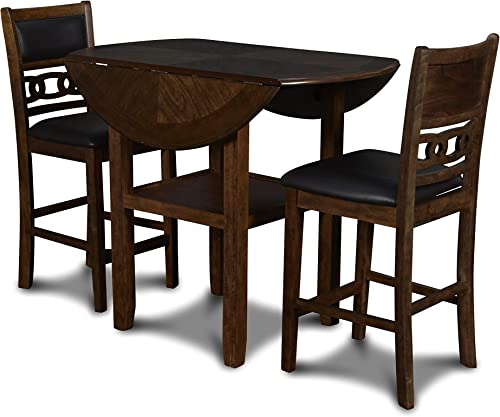 New Classic Furniture Gia Drop Leaf Counter Dining Table with Two Chairs, 42-Inch, Brown
