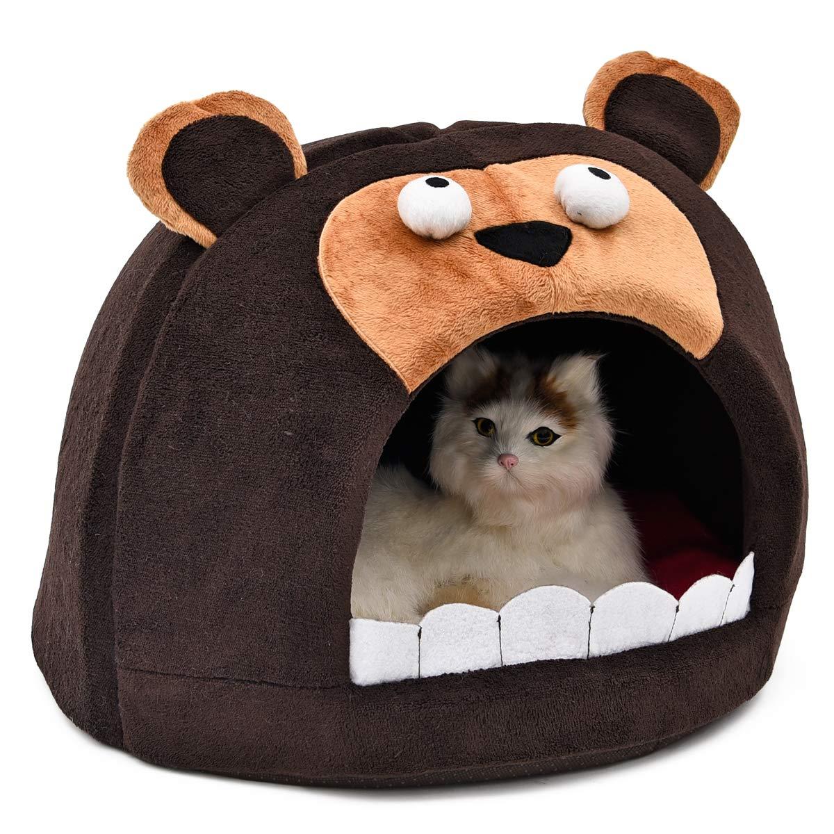 OHANA Panier Corbeille pour Chat en Forme de Igloo Bear, Petit Niche Portable idéal pour Chat Chaton à Se Coucher 46 x 46 x h 30 cm