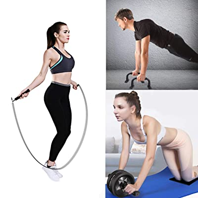 Ab Roller Wheel for Abs Workout Upgraded 7-in-1 AB Wheel Roller Set with Knee Pad Resistance Bands Push Up Bars Handles Grips Adjustable Skipping Jump Rope for Home Gym Workout Exercise Fitness