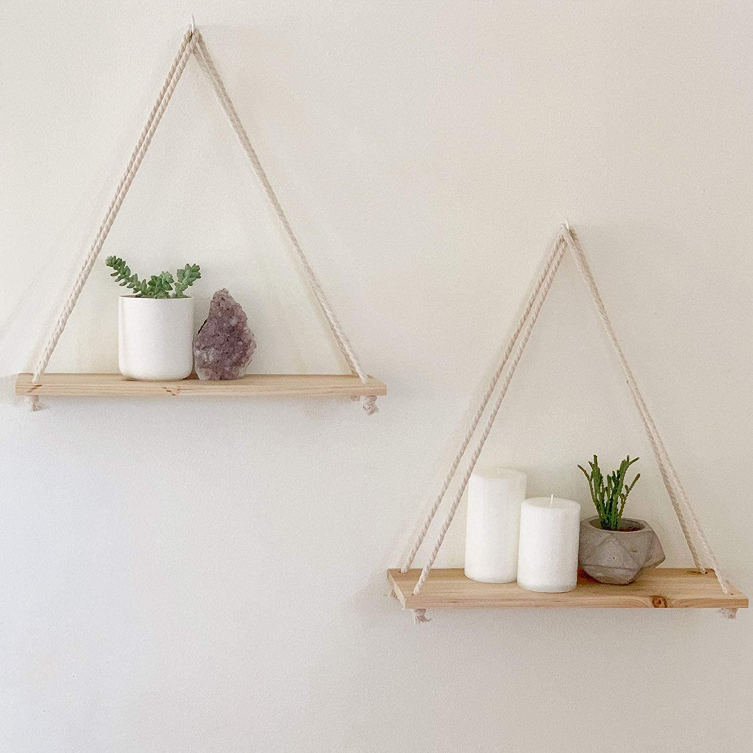 home decor ideas - hanging boho chic shelves with candles and plants