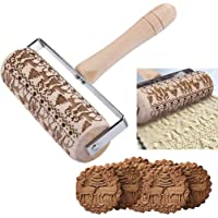 Cimaybeauty Embossed Rolling Pin Christmas Wooden Rolling Pins For Baking Embossed Cookies