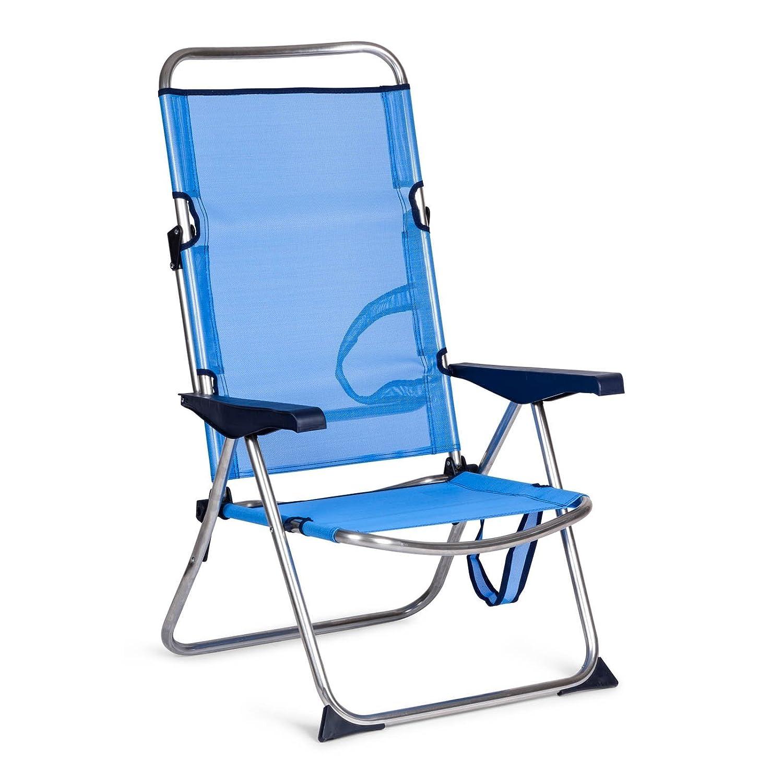 28b5f9000 SOLENNY - Silla plegable de playa de aluminio, respaldo alto, 4 ...
