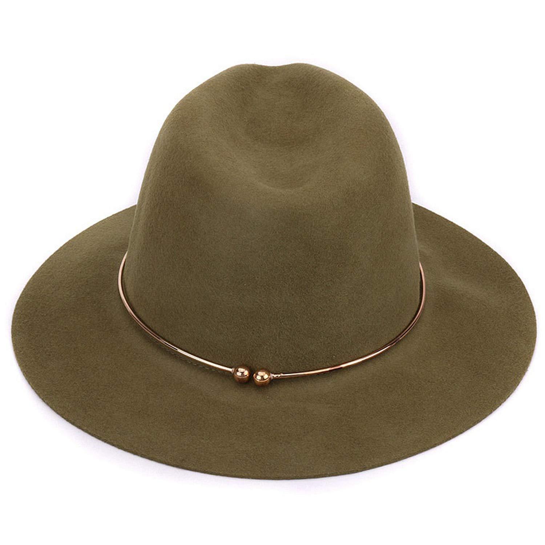 DOSOMI 100/% Wool Fedora Hats Women Wide Brim Trilby Jazz Cap Ladies Autumn Winter Cashmere Church Hat