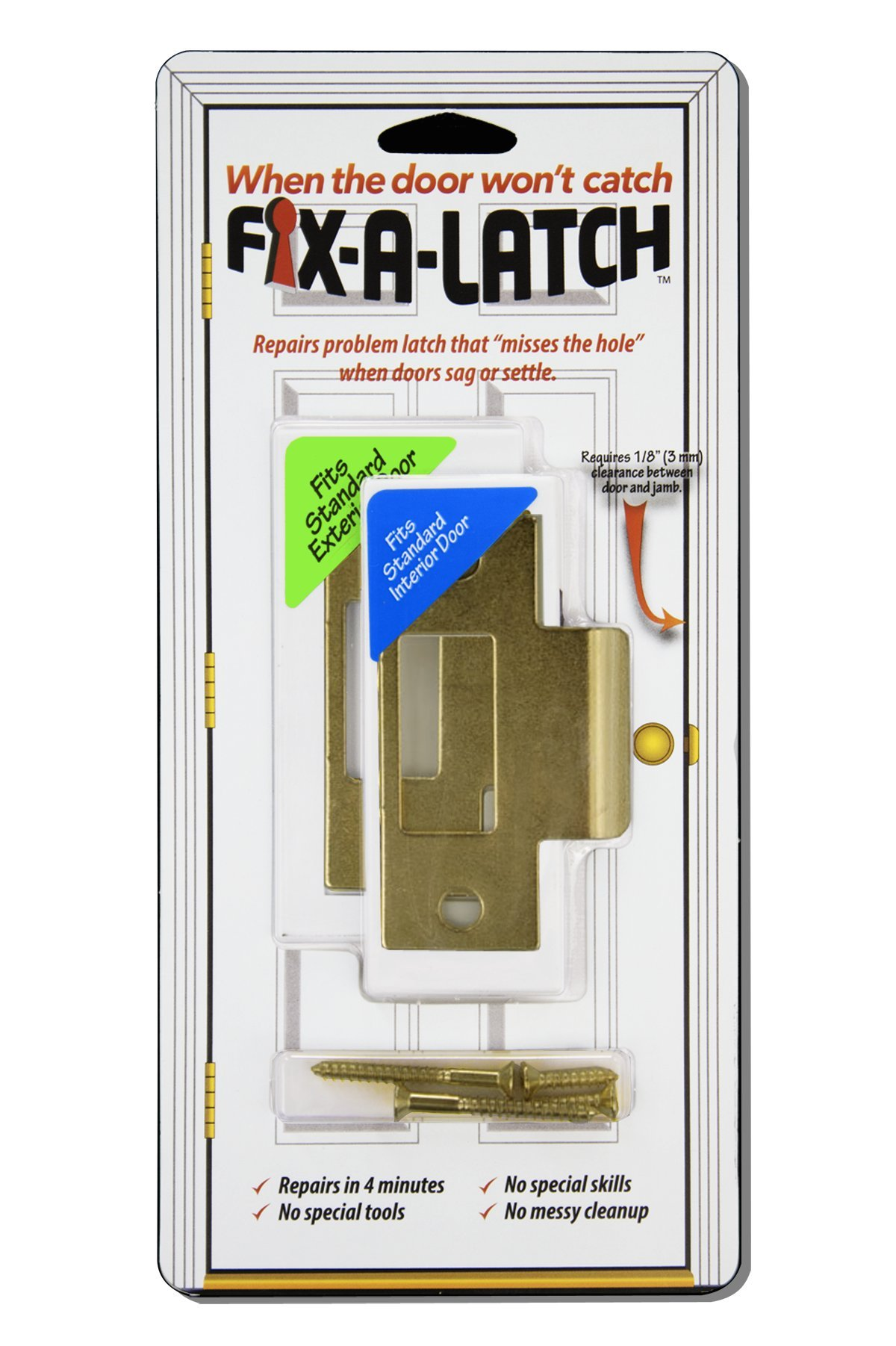 Fix-A-Latch Mixed 2-Pack with Brass Finish