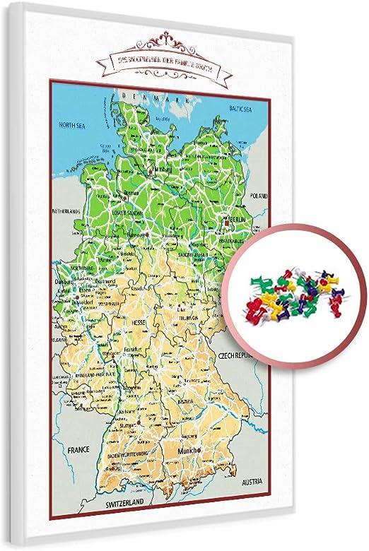 geographische deutschlandkarte PinDeineWelt   Hochwertige GEOGRAPHISCHE Reise Pinnwand