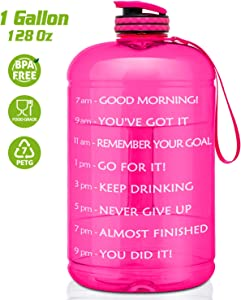 FRETREE Gallon Water Bottle Portable Water Jug - Fitness Sports Daily Water Bottle with Motivational Time Marker, Leak-Proof Gym Bottle for Outdoor Camping, Pink(1 Gallon, BPA Free)