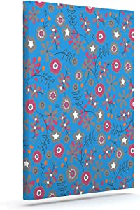 "Kess InHouse Michelle Drew Meadow Navy Paisley Outdoor Canvas Wall Art, 10"" x 12"""