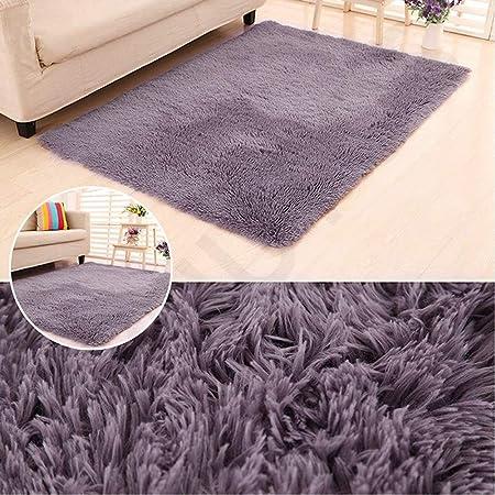 Muutos Pelo Largo alfombras 190x250cm, Play Mat Rectangular, Piel de Imitación Adecuado para salón Dormitorio baño sofá Silla cojín - Gris Morado