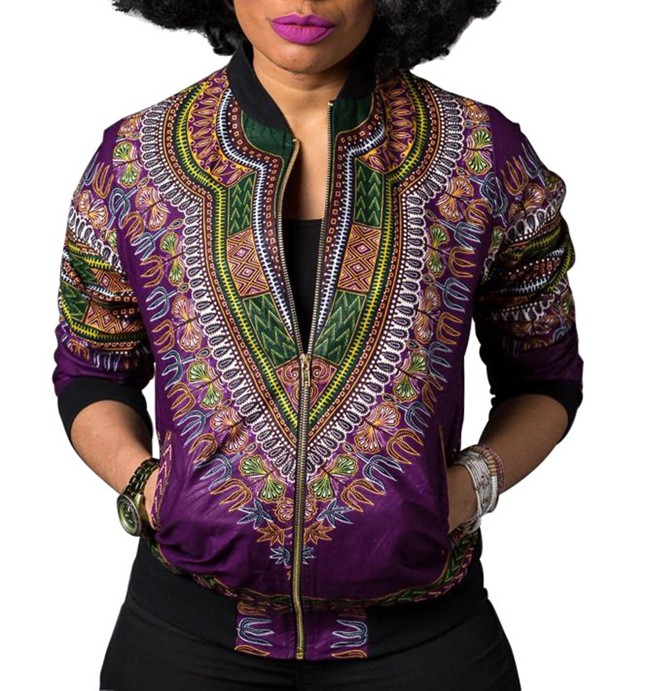 Playworld Women's African Dashiki Bomber Jackets Tradional Style Zip up Jackets Coat,Purple,X-Large