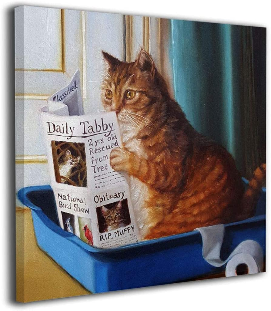 "HIBIPPO Cat Toilet Reading Newspaper Paper Picture Canvas Wall Art Printed Painting Artwork Home Decorations for Bathroom,Kitchen,Living Room,Dining Room 12""x12"" Ready to Hang"