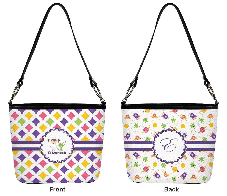 Front /& Back Girls Astronaut Bucket Bag w//Genuine Leather Trim Regular Personalized