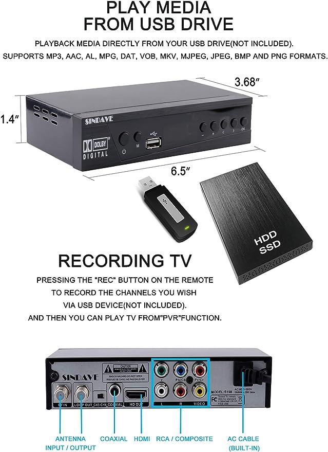 Convertidor digital de TV Box 2019, convertidor digital para TV analógica, HD 1080P TV con grabadora, convertidor digital ATSC HDTV con sintonizador, pausa en vivo, reproducción de múltiples USB: Amazon.es: Electrónica