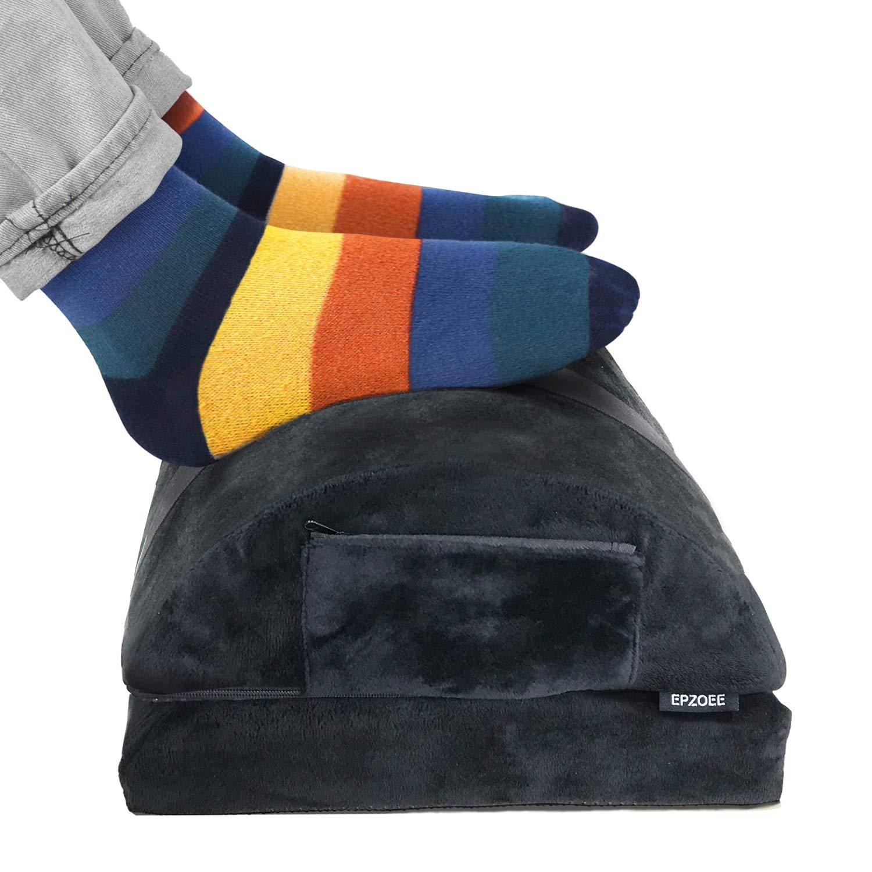 Epzoee Adjustable Foot Rest Under Desk,Ergonomic Office Foot Rest with 2 Optional Covers Premium Velvet Soft Foam Footrest Backrest for Desk for Office Work Best Gift for Men or Women,Black