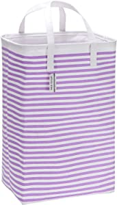 "Sea Team 23.6"" Large Size Canvas Fabric Laundry Hamper Collapsible Rectangular Storage Basket with Waterproof Coating Inner and Handles, Purple & White Stripe"