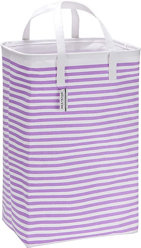 Black Dot Sea Team 23.6 Large Size Canvas Fabric Laundry Hamper Collapsible Rectangular Storage Basket with Waterproof Coating Inner and Handles