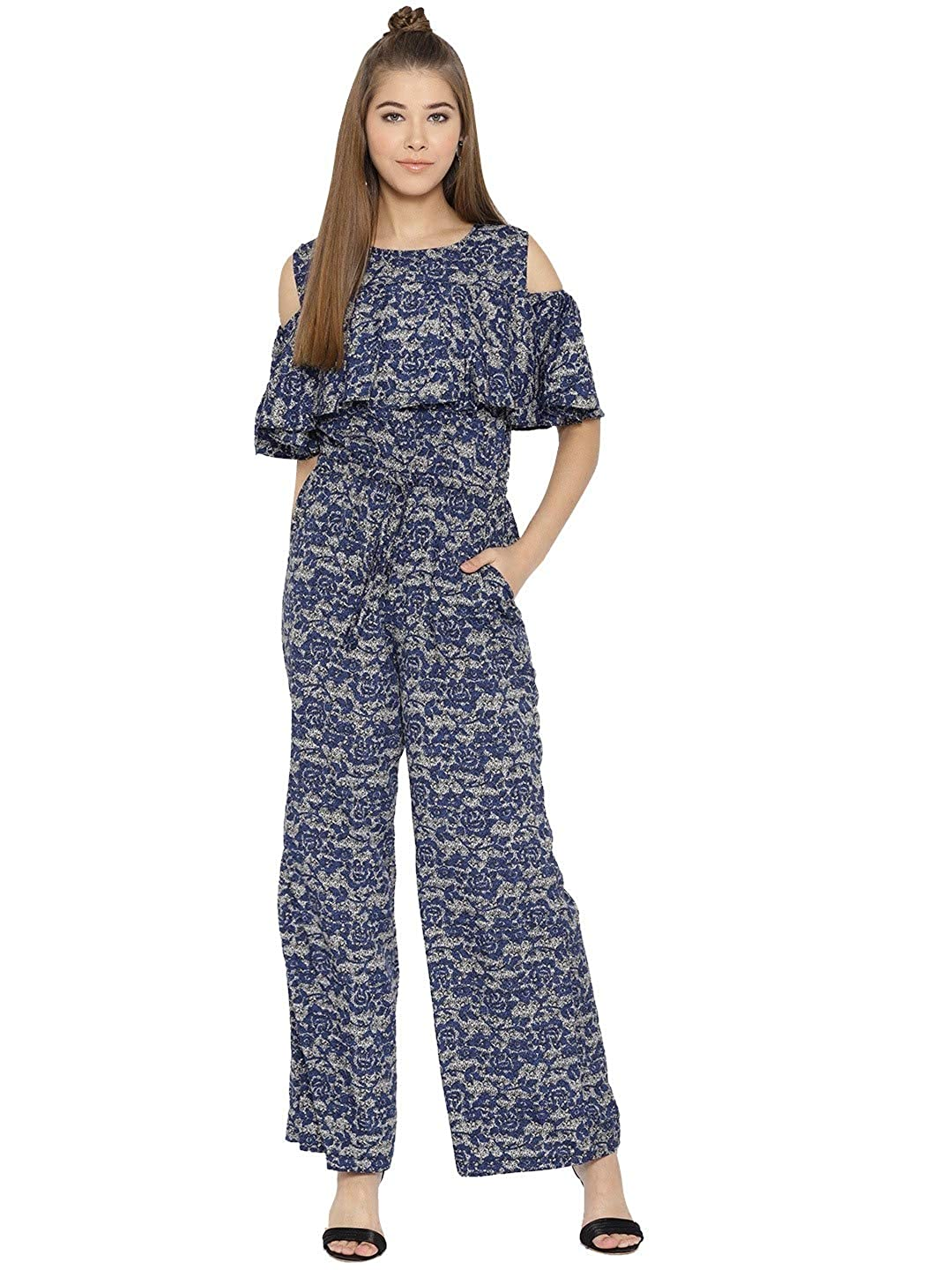 41bb52059cca cottinfab Solid and Printed Cold-Shoulder Jumpsuit  Amazon.in  Clothing    Accessories