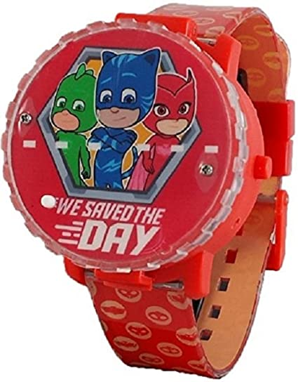 PJ Masks Kids Light Up Spinner Red Digital Watch with Pop Up Feature