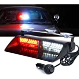 Xprite White & Red 16 LED High Intensity LED Law Enforcement Emergency Hazard Warning Strobe Lights For Interior Roof/Dash/Windshield With Suction Cups