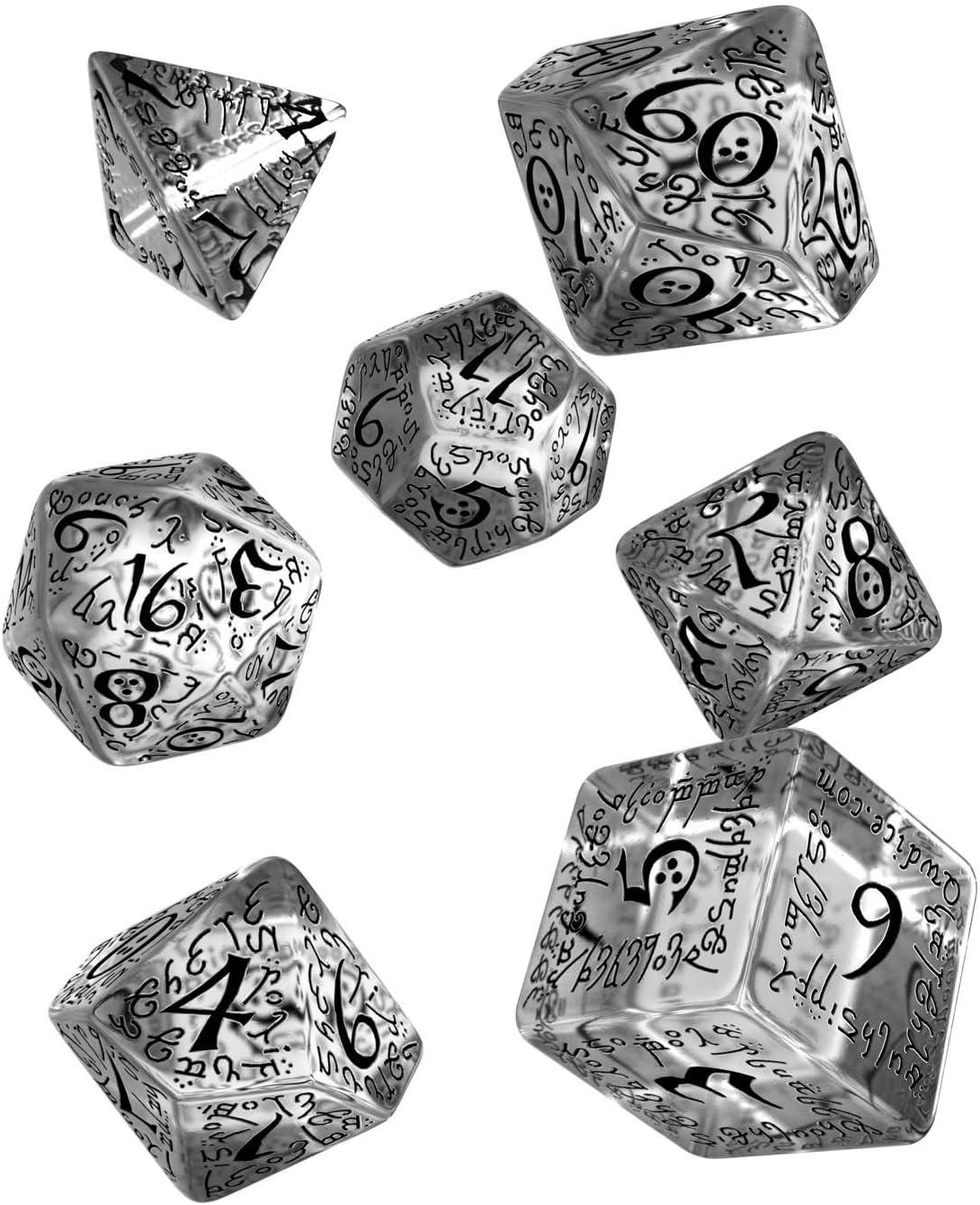 Q WORKSHOP Elvish Translucent & Red RPG Ornamented Dice Set 7 ...