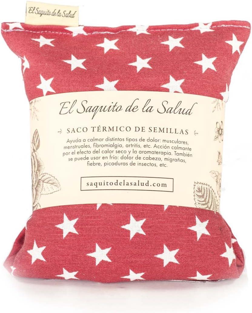 Saco Térmico de Semillas Aroma Lavanda, Azahar o Romero Tejido Rojo con Estrellas (Sin Aroma, 23_cm)