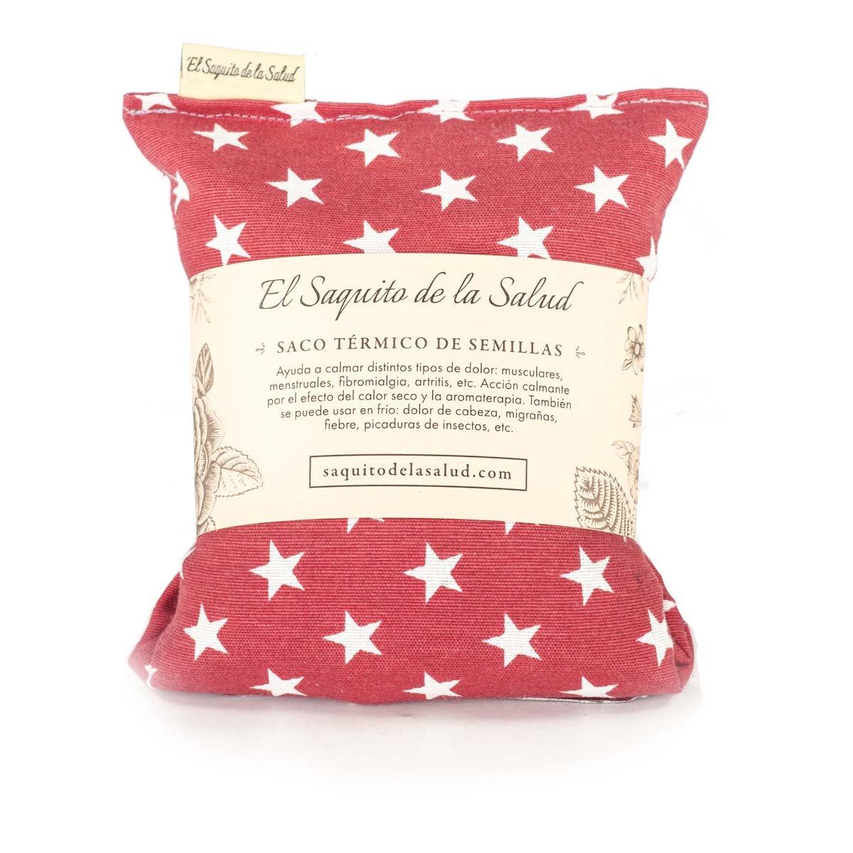 Saco Térmico de Semillas aroma Lavanda, Azahar o Romero tejido Rojo con Estrellas (Lavanda, 23 cm)