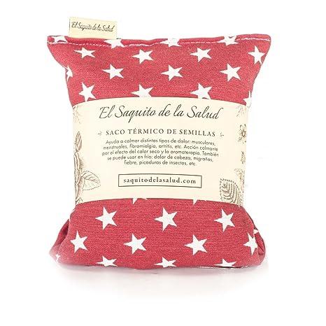Saco Térmico de Semillas aroma Lavanda, Azahar o Romero tejido Rojo con Estrellas (Romero, 23 cm)
