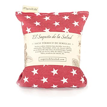 Saco Térmico de Semillas aroma Lavanda, Azahar o Romero tejido Rojo con Estrellas (Sin Aroma, 23_cm): Amazon.es: Hogar