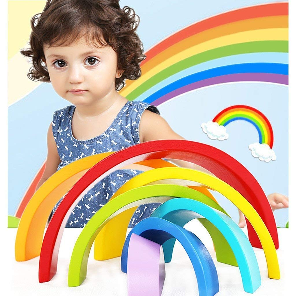 DMZK Rompecabezas Arco Iris de Madera Juguetes educativos Puzzle Arcoiris 7 Color para Ni/ños
