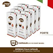 Nespresso Capsules - Espresso Italia Coffee pods for Nespresso Original Line machines 80 count certified compatible with gen