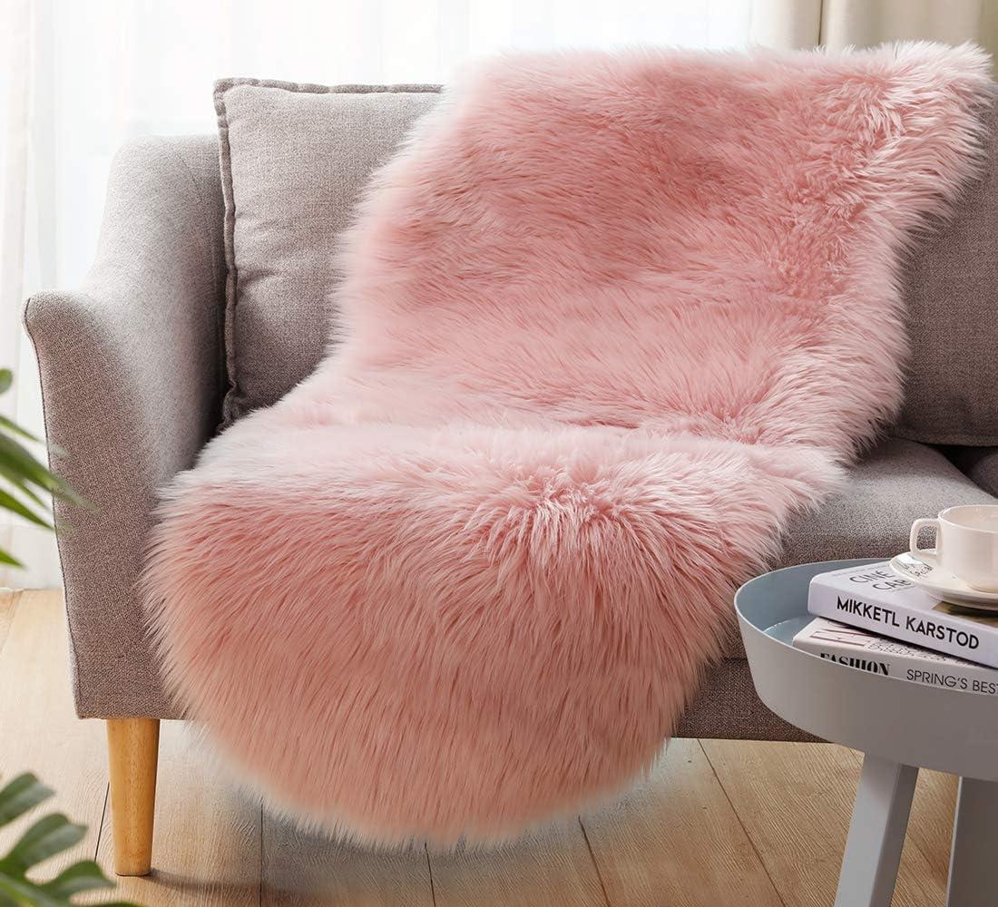 Ultra Soft Faux Sheepskin Fur Rug Fluffy Rug for Bedroom Fuzzy Carpet for Living Room Kid's Room Nursery Decor, Pink 2 x 6 Feet, Ciicool