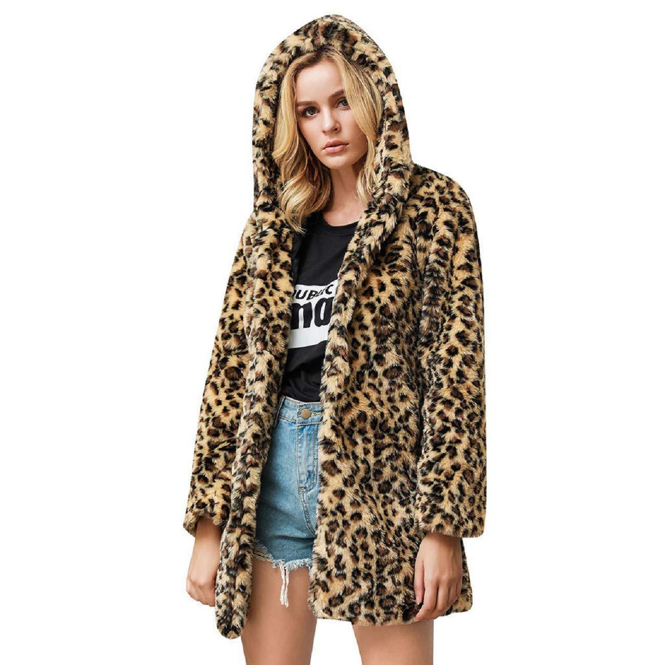 Reokoou Leopard Faux Fur Stylish Outwear Ladies Cardigan Loose Hoodie Plush Jacket Long Sleeve Pocket Cozy Fluffy Coat Khaki by Reokoou