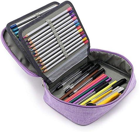 Yunhigh Estuche con 72 Ranuras de Colores Estuche con Cremallera de Gran Capacidad con asa para lápices de Acuarela prismacolor, lápices de Crayola, lapiceros de Marco, lapiceros de Gel - Lavanda: Amazon.es: