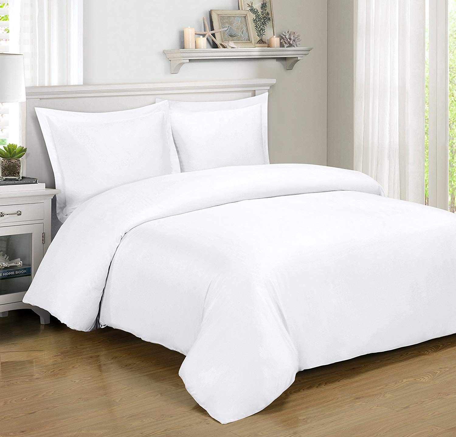 Royal Hotel BAMBOO Duvet Cover 100% BAMBOO Viscose Comforter Cover - Duvet Cover Set with Corner Ties and Button Closer, King/Cal King size White by Royal Hotel (Image #1)