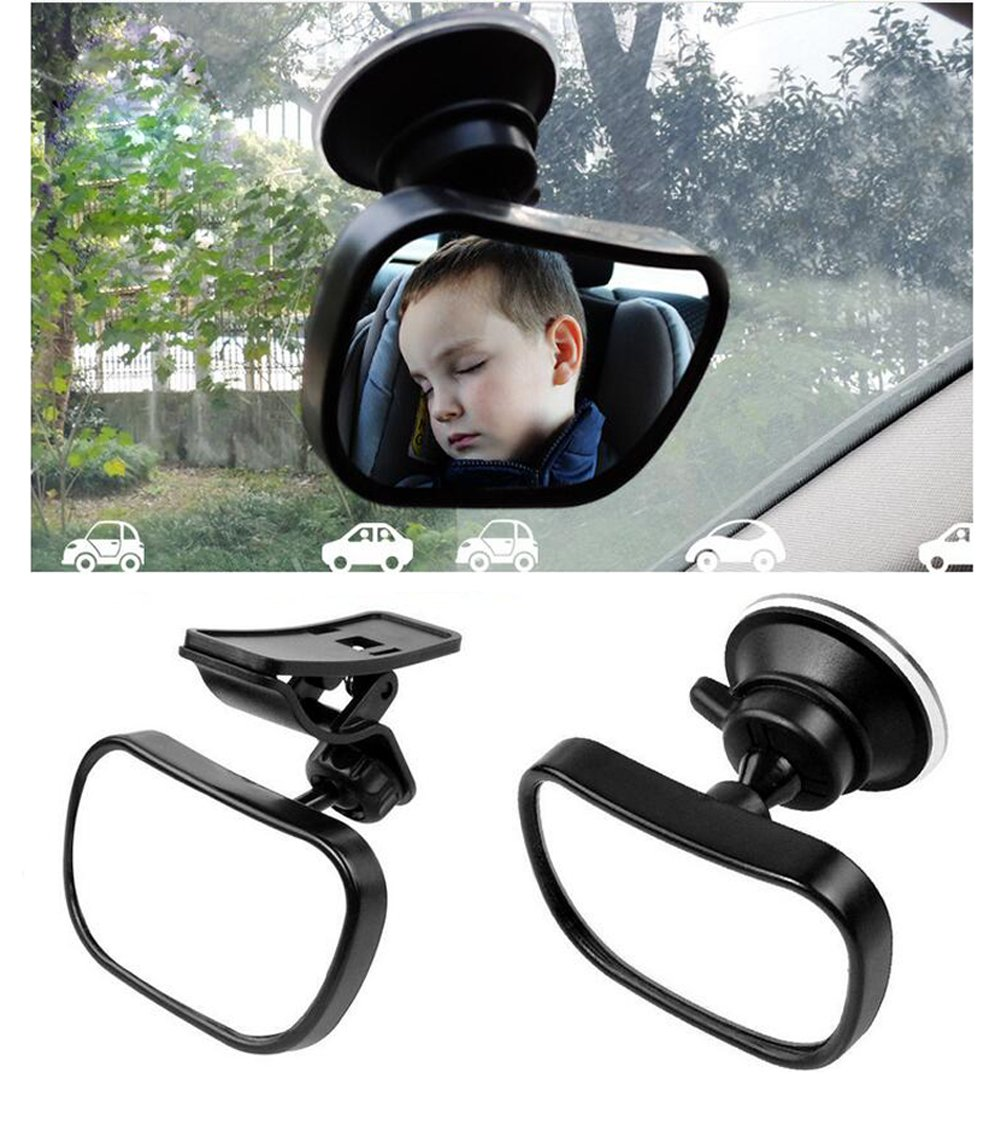 1Set Black 360 Degree Adjustable Safety Baby Child Backseat Mirror Shatter-Proof Acrylic Baby Mirror Car Rearview Toddler Suction Visor Mirror Baby View Mirror for Auto Back Seat UPSTORE